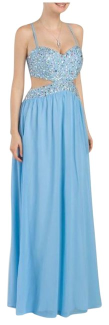 Item - Blue Beaded Cutout Gown Long Formal Dress Size 6 (S)