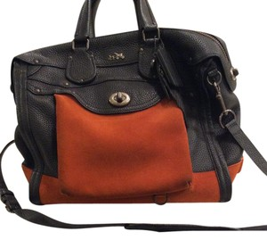 Coach Suede Leather Charm Rare Satchel in Black with saddle