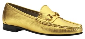 Gucci Classic Horsebit Loafer Loafers Women's Size 6.5 Size 36.5 Italy Luxury Slip On 340677 340677 Gold Flats