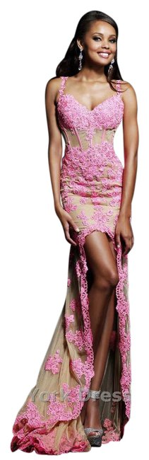 Item - Pink Lace Illusion High-low By 21161 Long Formal Dress Size 00 (XXS)