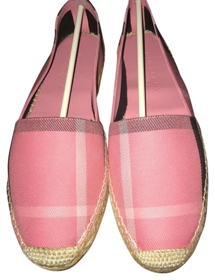 Burberry Pink Hodgeson Check Espadrille Flats Size US 10 Regular (M ... 6684f82f596