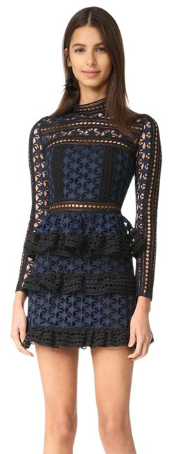 Preload https://item1.tradesy.com/images/self-portrait-black-navy-new-with-tags-high-neck-star-lace-paneled-mid-length-cocktail-dress-size-4--22025550-0-3.jpg?width=400&height=650