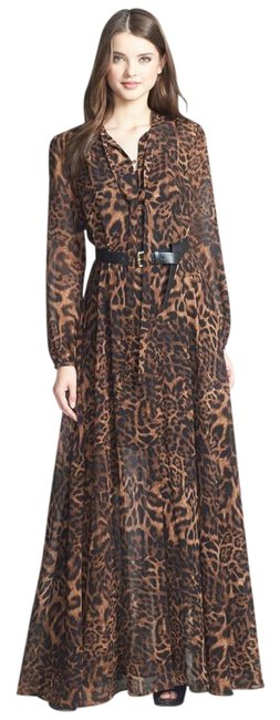Item - Brown Multi Fremont Tie Neck Animal Print (Mh48vbx15n) Long Casual Maxi Dress Size 4 (S)