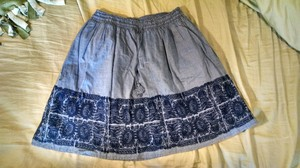 J.Crew Chambray Embroidered Skirt blue