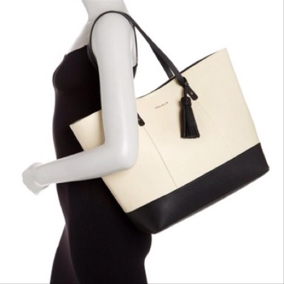 77138b463 Cole Haan Tote in Ivory / Black Image 5. 123456