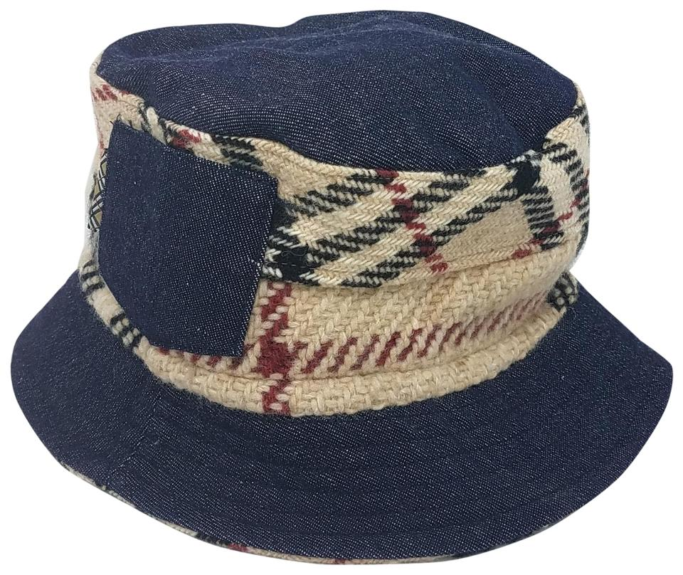 bc695dc4f37 Burberry Beige Blue Multicolor Nova Check Print Denim Bucket M Hat ...