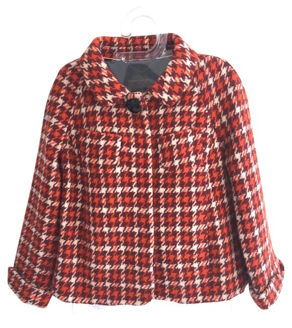 Item - Houndstooth Red Orange and White Box Coat Size 2 (XS)