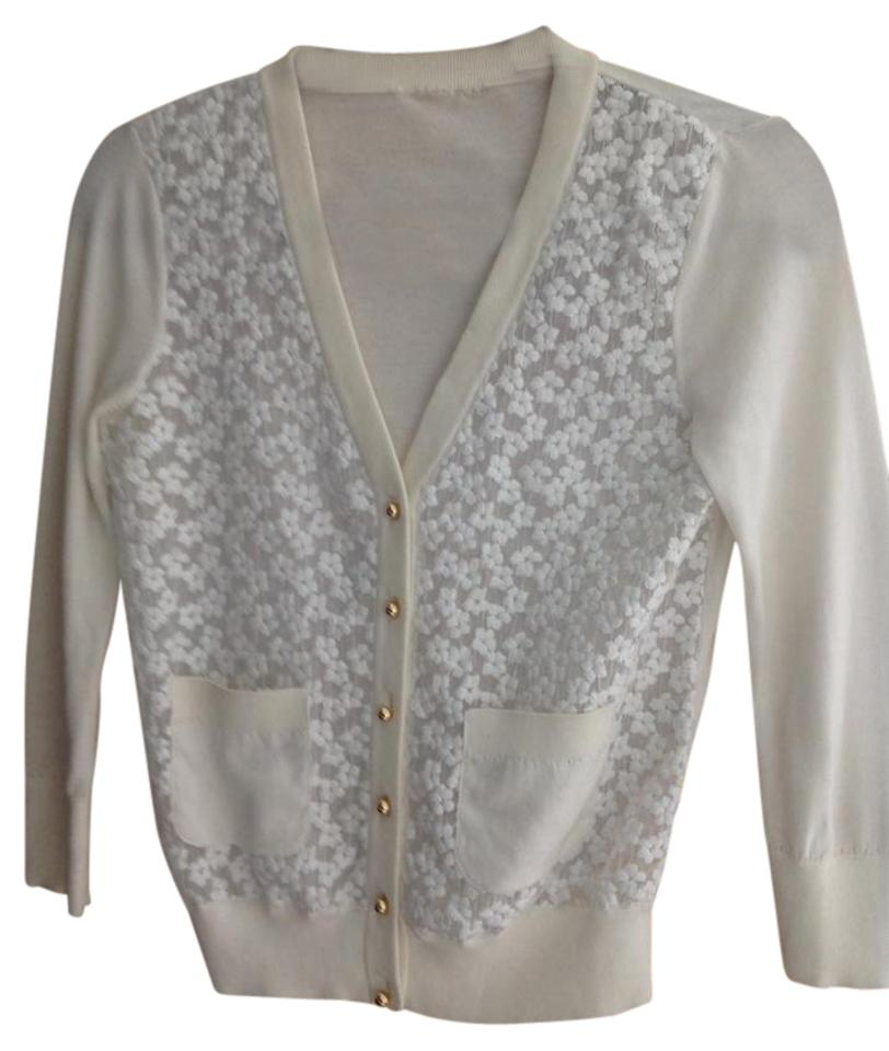Kate Spade White Sheer Lace Cardigan Size 6 (S) - Tradesy
