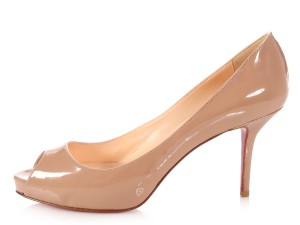 Christian Louboutin Lb.l0713.12 Open Toe Calfskin Patent Leather New Beige Pumps