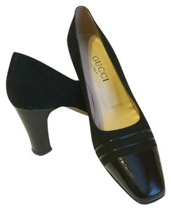 Gucci Suede Patent Leather Black Pumps