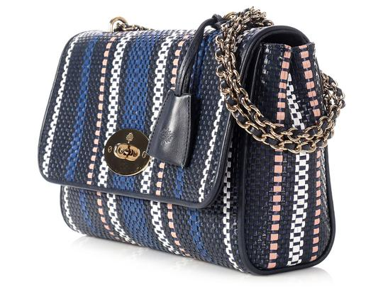 Mulberry Ml.l0803.09 Striped Navy Pink Shoulder Bag