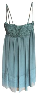 BCBGMAXAZRIA Rosette Chiffon Pleated Strapless Satin Bridesmaid Dress