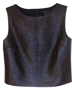 Banana Republic Crop Faux Leather Textured Holiday Top Black