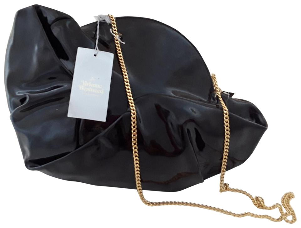 d85b94d9a7 Vivienne Westwood Avant-garde Kat Gold Chain Strap Black Patent Leather  Shoulder Bag