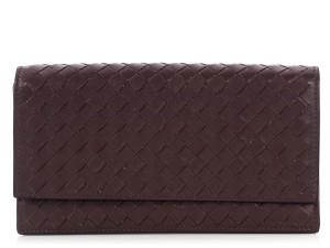 Bottega Veneta PURPLE Intrecciato WOVEN LEATHER CONTINENTAL WALLET