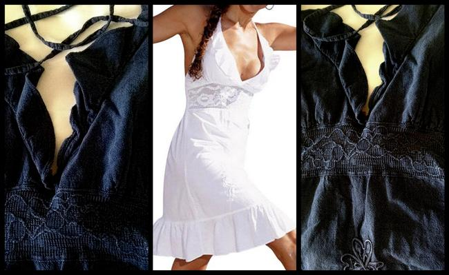 Lirome short dress Indigo Bue Embroidered Cottage Chic Sexy Lace Empire Waist on Tradesy