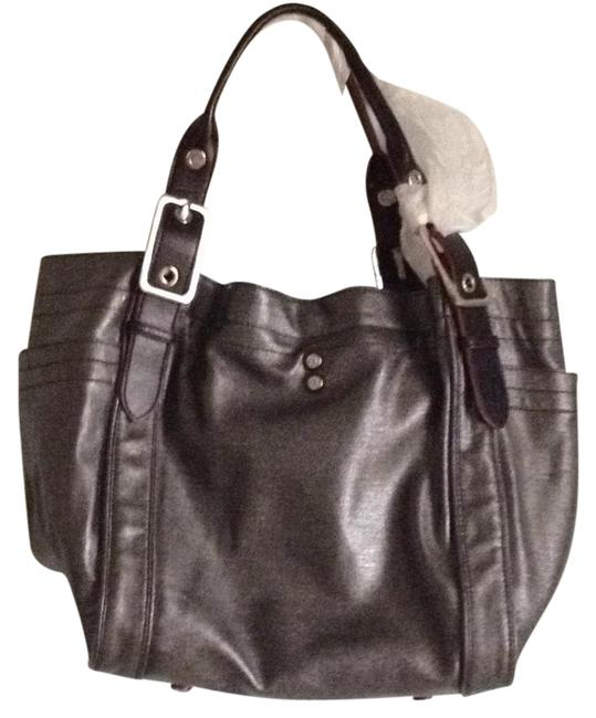 Item - Ava Silver/Black Coated Linen Tote