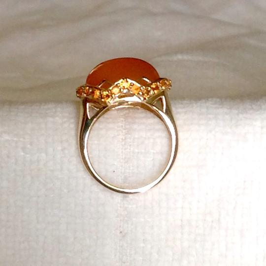 14K Peach Moonstone & Hessonite Garnet Ring 14K Peach Moonstone & Hessonite Garnet Ring