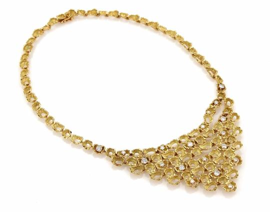 Other Estate 2.85ct Diamond 18k YGold Fancy Textured Open Drape Necklace