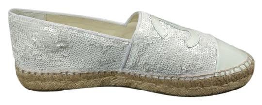 Preload https://img-static.tradesy.com/item/22028220/chanel-white-espadrilles-patent-leather-sequins-slippers-cc-round-cap-toe-flats-size-eu-40-approx-us-0-1-540-540.jpg