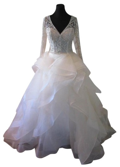 Preload https://img-static.tradesy.com/item/22028311/cristiano-lucci-ivorynudenude-lace-and-organza-13092-luna-feminine-wedding-dress-size-12-l-0-1-540-540.jpg