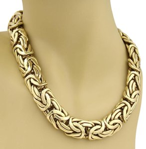 Other Italian Byzantine 18.5mm Wide Collar Necklace in 14k Yellow Gold
