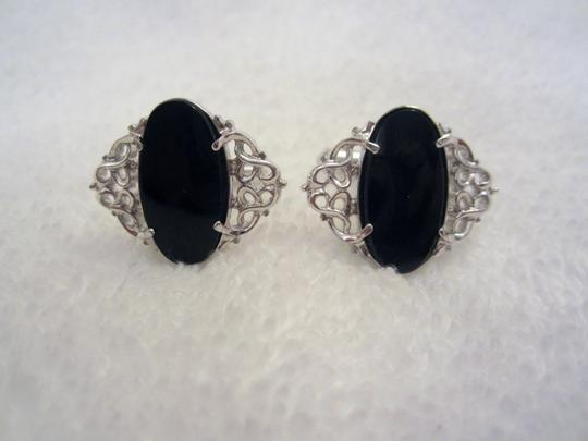Silver and Black Sterling Onyx Filagree Cufflinks/Studs