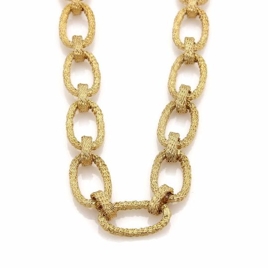 Other Estate Hefty 14k Yellow Large Oval Wire Woven Chain Link Necklace
