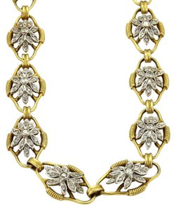 Other Vintage 5.00ct Diamond 18k Two Tone Fancy Floral Link Long Necklace 33