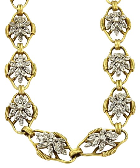 Preload https://img-static.tradesy.com/item/22028537/yellow-and-white-gold-vintage-500ct-diamond-18k-two-tone-fancy-floral-link-long-necklace-0-1-540-540.jpg