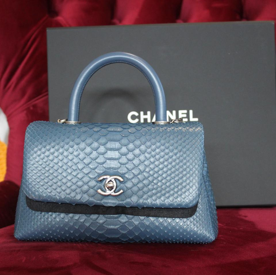 f6ba7388795c Chanel Coco Mini Handle Blue Python Skin Leather Cross Body Bag ...