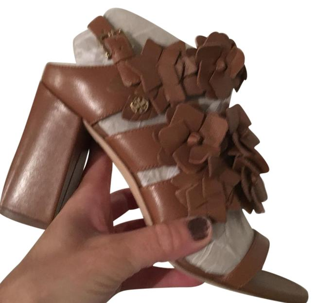 Tory Burch Brown Leather Blossom Floral Heel Sandals Size US 6.5 Regular (M, B) Tory Burch Brown Leather Blossom Floral Heel Sandals Size US 6.5 Regular (M, B) Image 1