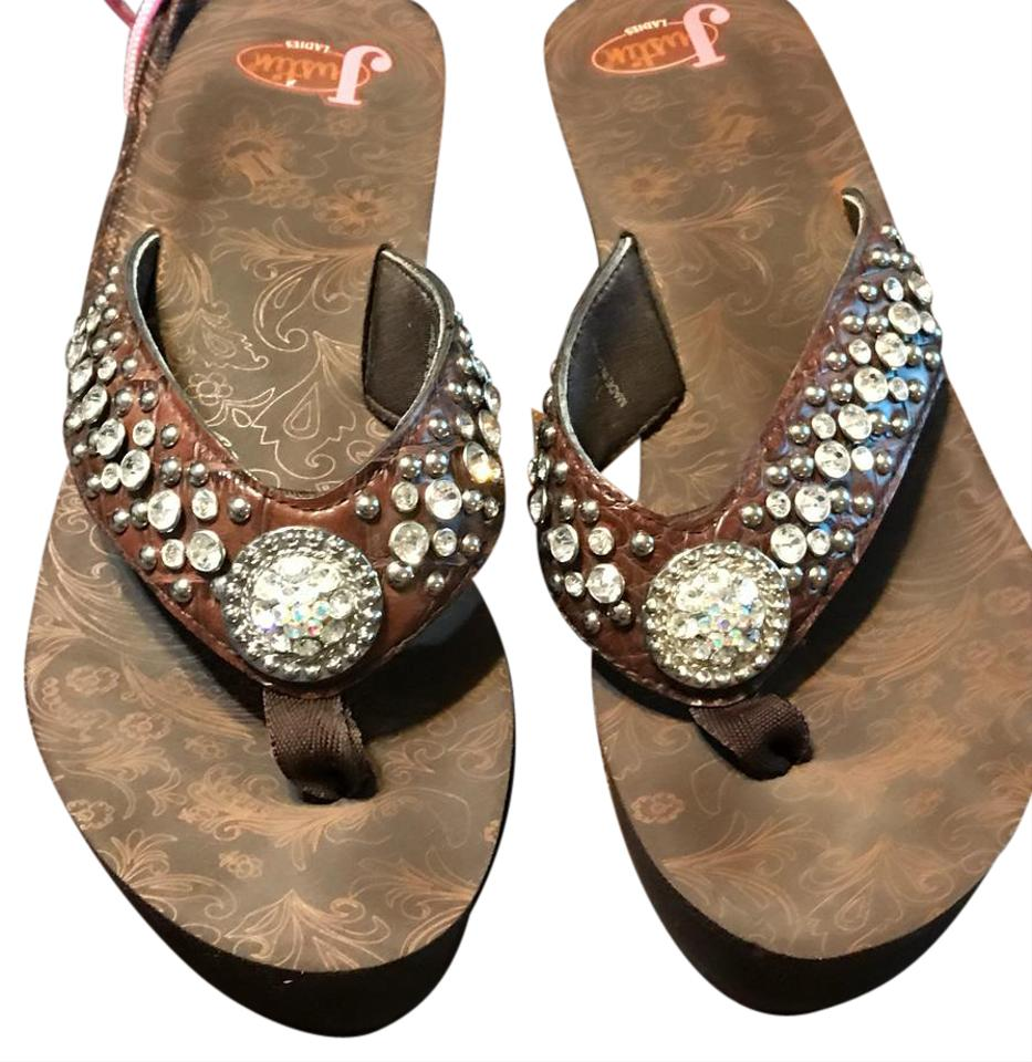 3de71f7e65c116 Justin Brown Rhinestone Includes Dust Bag Sandals Size US 10 Regular ...