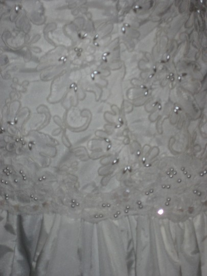 Jim Hjelm White Silk Taffeta/Lace Formal Dress Size 10 (M)