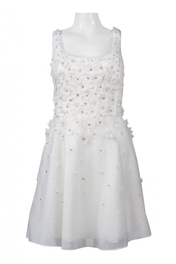 Ali Ro White Silk Hand Pieced Flower Organza Fit & Flare Casual Wedding Dress Size 10 (M)