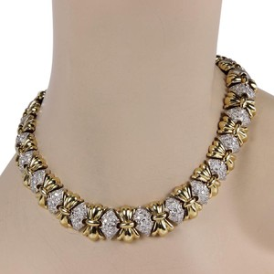 Other Estate 14K 2 Tone Heavy Link 5ct Pave Diamond Fashion Necklace
