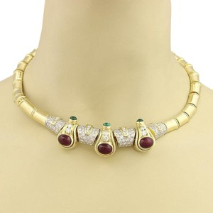 Other Estate 17.50ct Diamond Ruby Emerald 18k Yellow Gold Collar Necklace