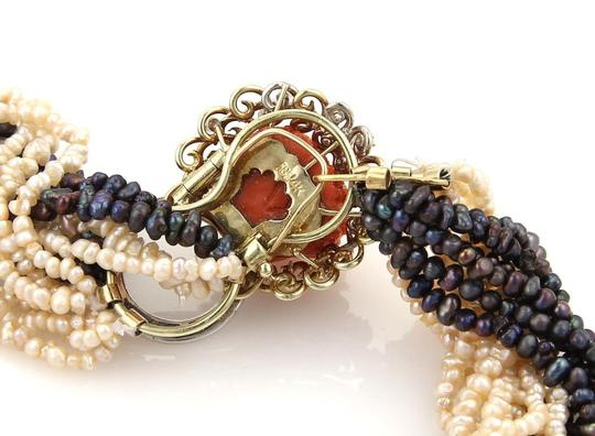 Other Estate 2.40ct Diamond Coral Dragon Foo Dogs14k Gold Multi-Strand Pearl