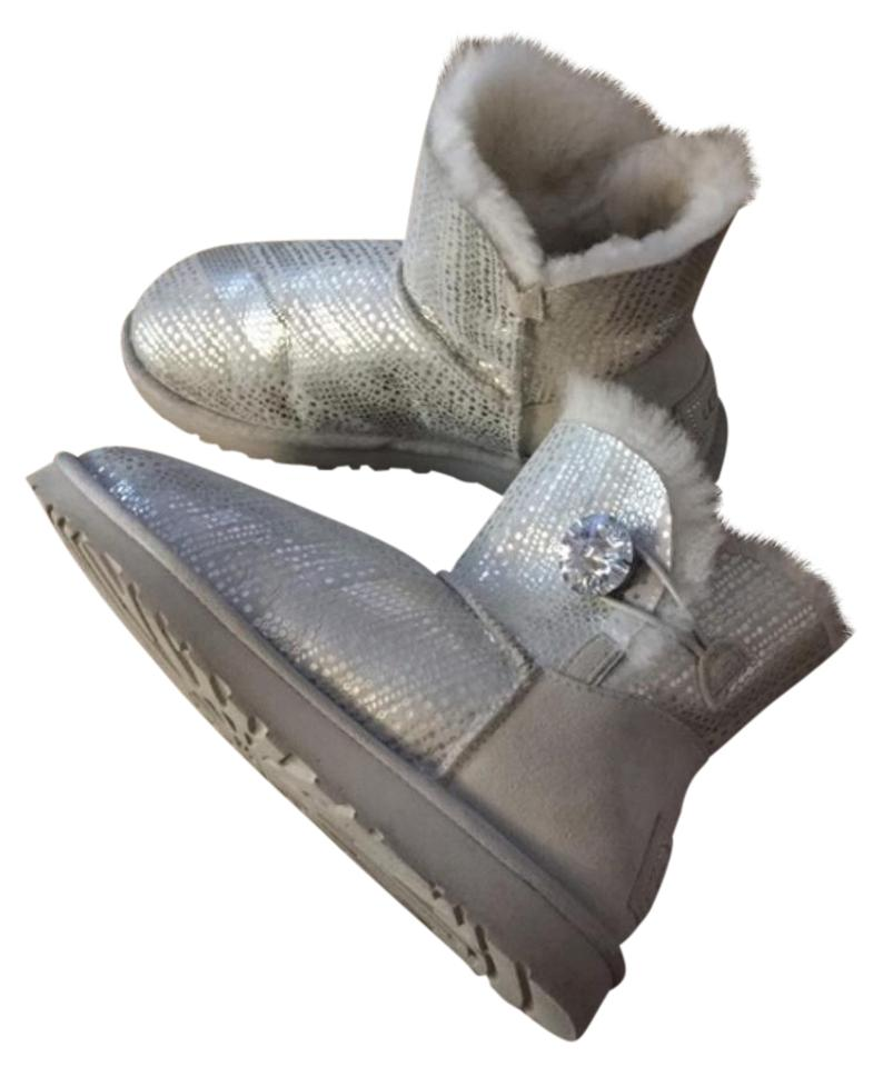 affordable price 100% top quality low priced UGG Australia Silver Bailey Swarovski Button Rhinestones Boots ...