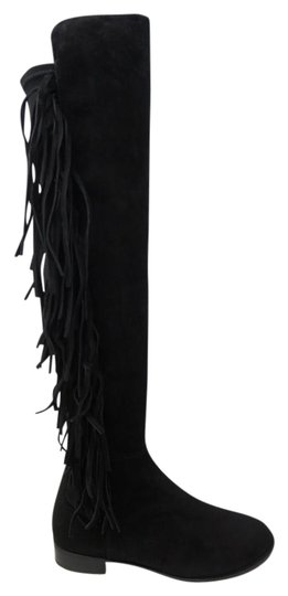 Preload https://img-static.tradesy.com/item/22029062/stuart-weitzman-black-mane-over-the-knee-stretch-suede-fringe-women-s-bootsbooties-size-eu-385-appro-0-1-540-540.jpg
