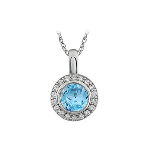 Marco B Sky Blue CZ and White Cubic Zirconia pendent necklace