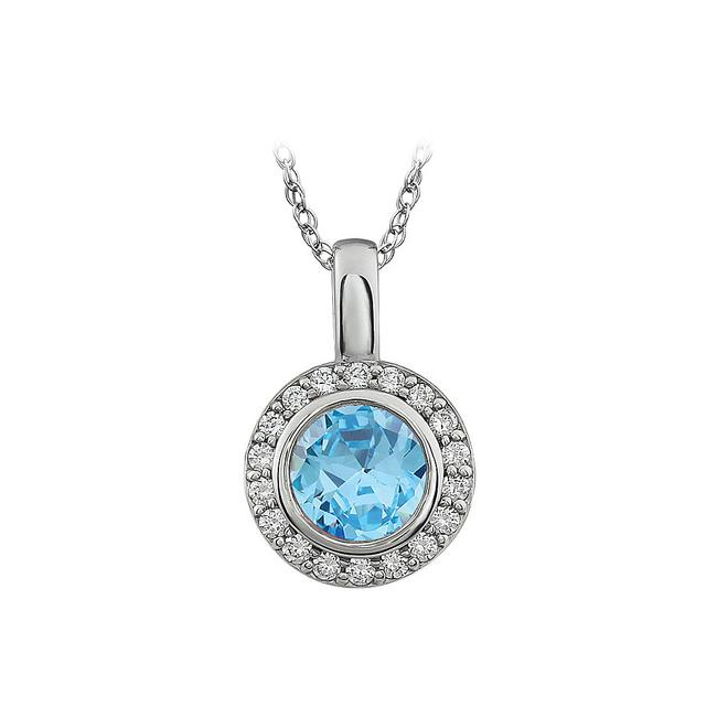 Sky Blue Cz and White Cubic Zirconia Pendent Necklace Sky Blue Cz and White Cubic Zirconia Pendent Necklace Image 1