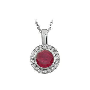 Marco B Red Ruby colour surrounded by White Cubic Zirconia Pendant Necklace