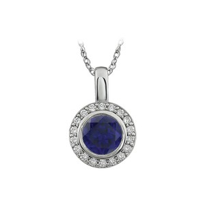 Marco B Blue and White Cubic Zirconia Pendant Necklace with free Chain