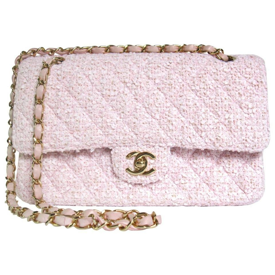 4b3b825ccae8 Chanel Classic Flap Pink Beige Boucle Tweed Wool Lambskin Leather ...