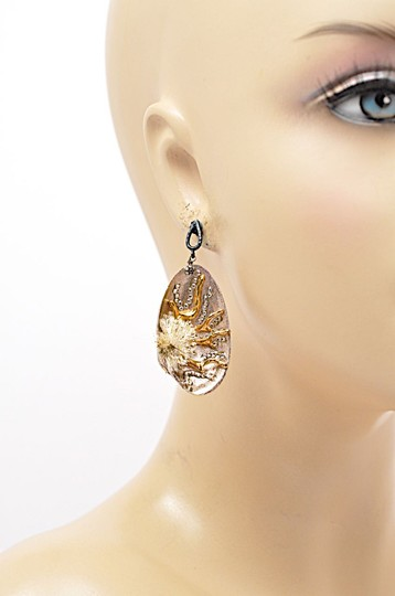 AZAARA AZAARA Rose Gold Clam Shell Drop Post Earrings with Gold Coral/Crystal