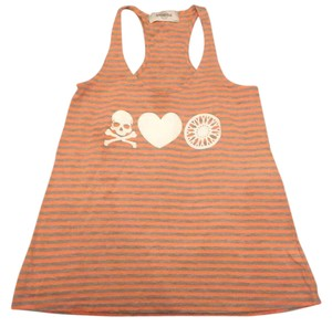 SoulCycle Soulcycle orange and grey stripes workout tank top