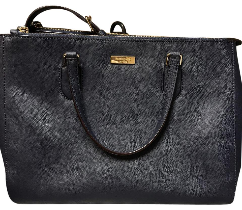 f095f5c4581 Kate Spade Leighann Navy Blue Leather Tote - Tradesy