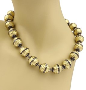Other Estate 18k Yellow Gold Hammered Scroll Design Large Ball Link Necklace