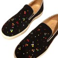 Christian Louboutin black. with red, yellow,blue and green studs Flats